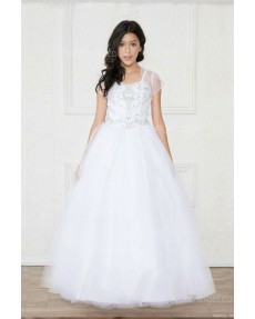 Girls Dress Style 0620418 White Floor-length Beading Sweetheart A-line Dress in Choice of Colour