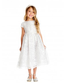 Girls Dress Style 0620618 Ivory Tea-length Belt Bateau A-line Dress in Choice of Colour