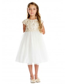 Girls Dress Style 0620818 Ivory Knee-Length Embroidery Bateau A-line Dress in Choice of Colour