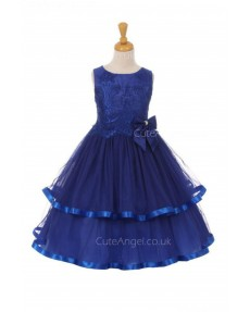 Girls Dress Style 0620918 Royal Blue Floor-length Hand Made Flower Bateau A-line Dress in Choice of Colour