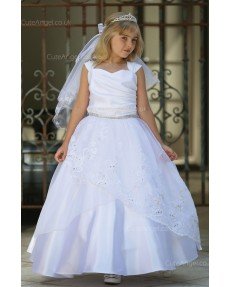Girls Dress Style 062118 Ivory Floor-length Lace , Beading V-neck A-line Dress in Choice of Colour