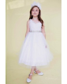 Girls Dress Style 0622018 White Tea-length Beading Sweetheart A-line Dress in Choice of Colour