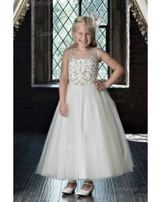 Girls Dress Style 0622118 Ivory Ankle Length Beading Bateau A-line Dress in Choice of Colour