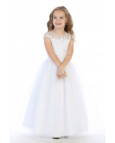 Girls Dress Style 062218 White Floor-length Lace   Dress in Choice of Colour