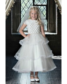 Girls Dress Style 0622518 Ivory Tea-length Applique  A-line Dress in Choice of Colour
