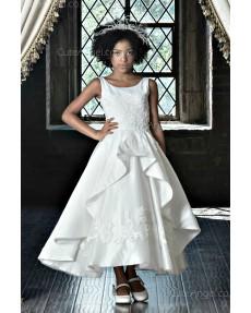 Girls Dress Style 0622618 Ivory Tea-length Applique Bateau A-line Dress in Choice of Colour
