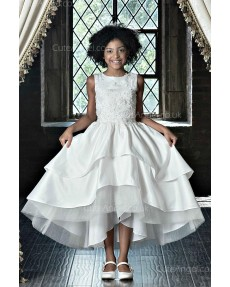 Girls Dress Style 0623318 Ivory Tea-length Applique , Tiered Round A-line Dress in Choice of Colour