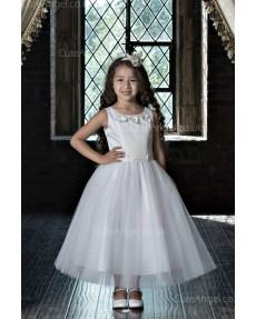 Girls Dress Style 0623418 Ivory Tea-length Beading , Hand Made Flower Bateau A-line Dress in Choice of Colour
