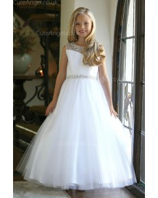 Girls Dress Style 062418 White Floor-length Beading Bateau A-line Dress in Choice of Colour