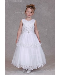 Girls Dress Style 0624818 Ivory Ankle Length Lace , Beading , Bowknot Bateau A-line Dress in Choice of Colour