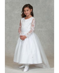 Girls Dress Style 0624918 Ivory Ankle Length Lace Round A-line Dress in Choice of Colour