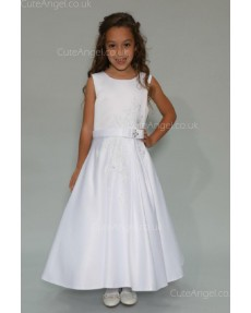 Girls Dress Style 0625118 Ivory Floor-length Applique Bateau A-line Dress in Choice of Colour