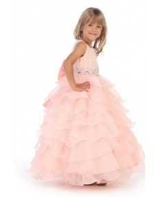 Girls Dress Style 062518 Pearl Pink Floor-length Beading Bateau A-line Dress in Choice of Colour