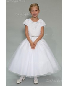 Girls Dress Style 0625218 White Ankle Length Beading Bateau A-line Dress in Choice of Colour