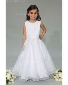 Girls Dress Style 0625318 White Floor-length Lace Round A-line Dress in Choice of Colour