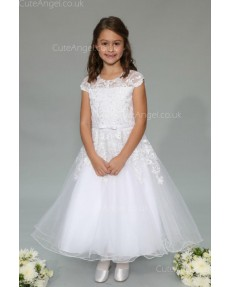 Girls Dress Style 0625418 White Ankle Length Lace Round A-line Dress in Choice of Colour