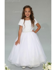 Girls Dress Style 0625618 White Floor-length Beading Bateau A-line Dress in Choice of Colour