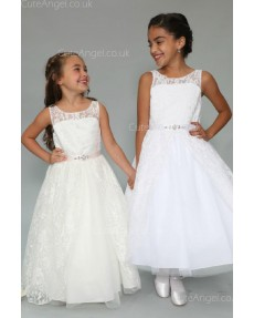 Girls Dress Style 0625718 White Floor-length Lace , Beading Bateau A-line Dress in Choice of Colour