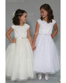 Girls Dress Style 0625818 White Floor-length Lace , Beading Bateau A-line Dress in Choice of Colour