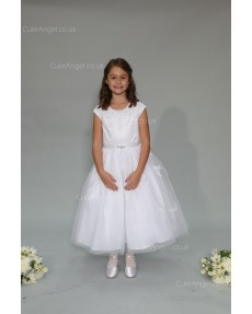 Girls Dress Style 0625918 Ivory Ankle Length Lace , Beading Bateau A-line Dress in Choice of Colour