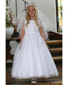Girls Dress Style 062618 Ivory Floor-length Beading Bateau A-line Dress in Choice of Colour
