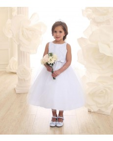 Girls Dress Style 0626218 Ivory Tea-length Lace Bateau A-line Dress in Choice of Colour