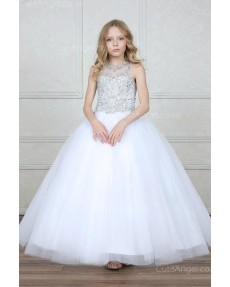 Girls Dress Style 0627318 White Floor-length Beading Bateau Ball Gown Dress in Choice of Colour