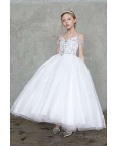 Girls Dress Style 0627718 Ivory Ankle Length Beading V-neck Ball Gown Dress in Choice of Colour