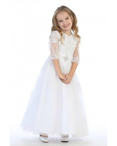 Girls Dress Style 062818 White Floor-length Lace Round A-line Dress in Choice of Colour