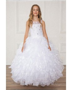 Girls Dress Style 0628218 White Floor-length Layers Bateau A-line Dress in Choice of Colour