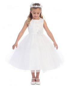 Girls Dress Style 0628418 Ivory Tea-length hand Made Flower Bateau A-line Dress in Choice of Colour