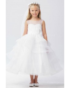 Girls Dress Style 063118 Ivory Tea-length Hand Made Flower Bateau A-line Dress in Choice of Colour
