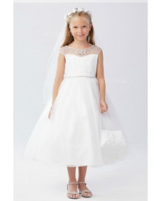 Girls Dress Style 063218 Ivory Tea-length Beading Bateau A-line Dress in Choice of Colour