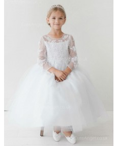 Girls Dress Style 063418 Ivory Floor-length Applique Bateau A-line Dress in Choice of Colour