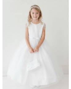 Girls Dress Style 063518 Ivory Floor-length Beading Bateau A-line Dress in Choice of Colour
