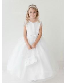 Girls Dress Style 063518 Ivory Floor-length Beading Bateau A-line Dress in Choice of Colour