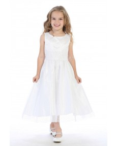 Girls Dress Style 063718 Ivory Tea-length  Bateau A-line Dress in Choice of Colour