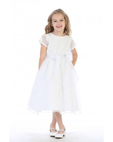 Girls Dress Style 064018 White Tea-length Lace Round A-line Dress in Choice of Colour