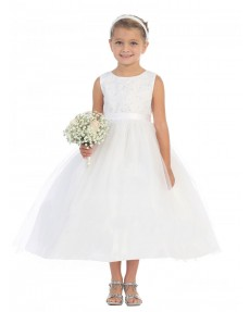 Girls Dress Style 065218 Ivory Tea-length Beading Bateau A-line Dress in Choice of Colour