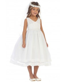 Girls Dress Style 065418 Ivory Tea-length Lace V-neck A-line Dress in Choice of Colour