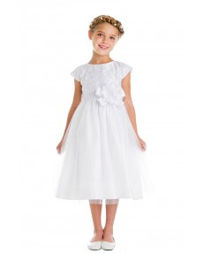 Girls Dress Style 065618 Ivory Tea-length hand Made Flower Round A-line Dress in Choice of Colour
