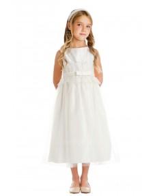 Girls Dress Style 065918 Ivory Tea-length Lace Bateau A-line Dress in Choice of Colour