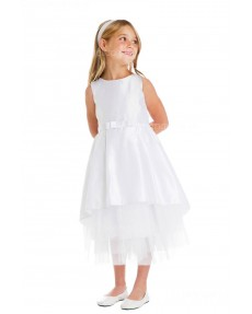 Girls Dress Style 066018 Ivory Tea-length Sash Bateau A-line Dress in Choice of Colour
