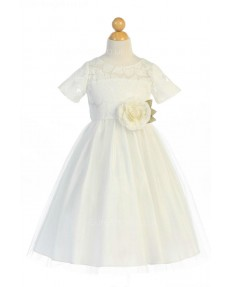 Girls Dress Style 066118 Ivory Floor-length hand Made Flower Bateau A-line Dress in Choice of Colour