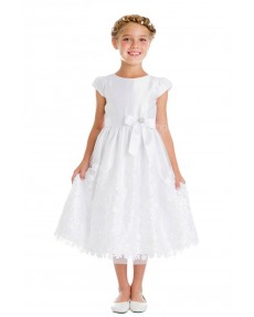 Girls Dress Style 066318 Ivory Tea-length Bowknot , Beading Bateau A-line Dress in Choice of Colour