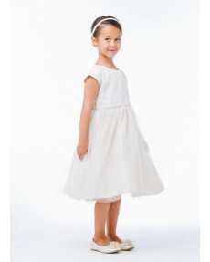 Girls Dress Style 066518 Ivory Tea-length Beading Round A-line Dress in Choice of Colour
