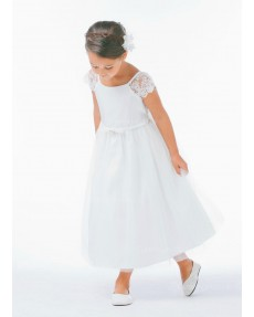 Girls Dress Style 066618 Ivory Ankle Length Lace Bateau A-line Dress in Choice of Colour