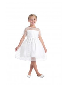 Girls Dress Style 067018 Ivory Knee-Length  Bateau A-line Dress in Choice of Colour
