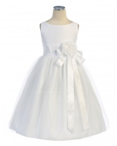 Girls Dress Style 067118 Ivory Floor-length Hand Made Flower Bateau A-line Dress in Choice of Colour