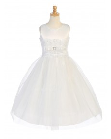 Girls Dress Style 067318 Ivory Floor-length Sash Round A-line Dress in Choice of Colour
